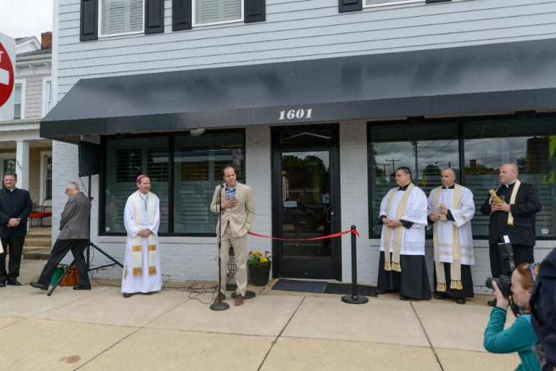 Board of Directors President Julian Malcolm welcomes our guests. Bishop Burbidge, Father Mosimann, Father Cummings, and Father Lundberg prepare to bless our new office and homes.  (May 6, 2017)